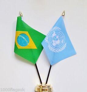 Brazil & United Nations UN Double Friendship Table Flag Set