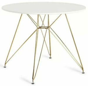 Maddix Round 4 Seater Dining Table - Brass & White