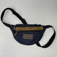 EastSport 90s Waist Bag Fanny Pack BLUE w/Faux Brown Leather Trim 3 Zip Pouches