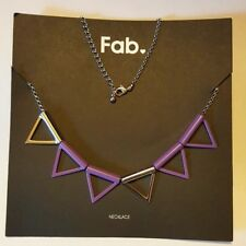 Fab Purple and Silver Triangles Necklace -- NEW