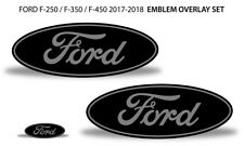 Oval Badge Emblem Overlay Decals For Ford F-250 F-350 F-450 2017-2018 GREY