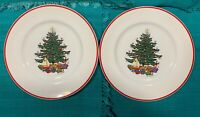 """Cuthbertson AMERICAN CHRISTMAS TREE Red Trim lot of 2 SALAD PLATES 8"""""""