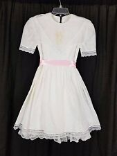 Vintage JESSICA McCLINTOCK Gunne Sax White Eyelet Lace Dress GIRLS 8 USA Formal