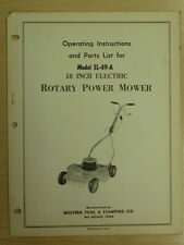 "WESTERN TOOL 18"" ELECTRIC ROTARY POWER MOWER INSTRUTIONS, PARTS MANUAL EL-49-A"