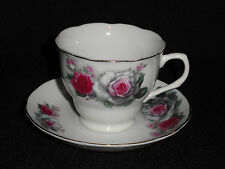 CHINESE ROSE HAND PAINTED  CUP AND SAUCER