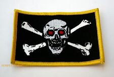 RED EYE PIRATE HAT PATCH US MARINES NAVY ARMY SKULL N BONES BLACK W/YELLOW TRIM
