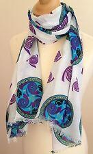 Nuevo 100% COTTON Mujer Azul Morado Motivo Estampado Bufanda por Juniper