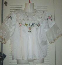 HomeMade Ethnic Festive Floral Semi Sheer Off Lace Womens Blouse ABUELA TIA
