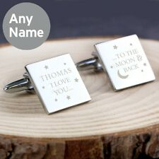 Personalised I Love You To The Moon And & Back Square Cufflinks For Men Him Gift
