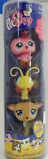 Littlest Pet Shop tube Cuddliest with pink owl yellow butterfly & deer / fawn