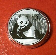 2015 CHINA 1 TROY OZ .999 FINE SILVER PANDA 10 YUEN COIN IN CAPSULE