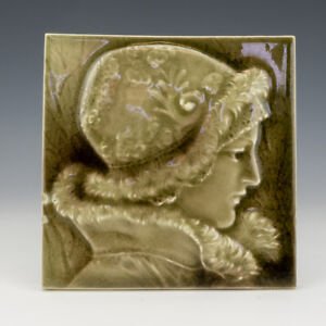 Antique Victorian Pottery - Relief Moulded Lady Decorated Tile