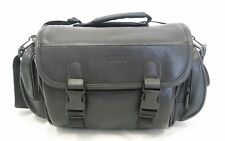 Genuine Sony DSLR SLR Digital Camera Camcorder Black Leather Bag Case w/ Strap