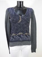 RICHMOND Damen Pullover Gr 38 DE / Grau mit Muster Neuwertig ( R 2635 )