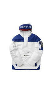 COLUMBIA MEN'S CHALLENGER PULLOVER JACKET White/Blue NWT Sz Large $120