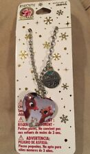 Sparkling Christmas RUDOLPH THE RED NOSE REINDEER Necklace & Chain Silver plated