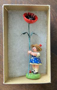 Vtg Erzgebirge FLOWER Girl Red Poppy Ladybug HUBRIG Made in Germany Carved Wood