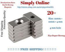 20 Pcs Super Strong Block Magnets 20x10x4mm Hole 4mm Rare Earth Neodymium N50