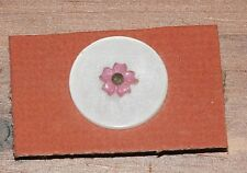 ONE VINTAGE ROUND WHITE BUTTON WITH PINK FLOWER OVERLAY - APPROX. 7/8""
