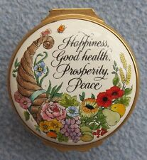 Halcyon Days England Happiness, Good health, Prosperity Enameled Trinket Box