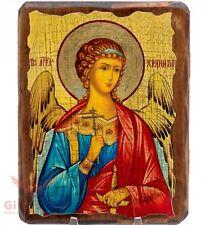 "Wooden Icon of Angel Guardian Икона Ангел Хранитель 5""x6.5"""