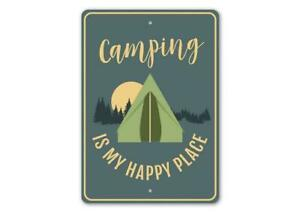 Camping is My Happy Place, Camper Gift Sign, Camping, Outdoor-Lover  Metal Sign