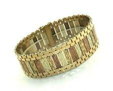 Ladies/womens impressive 9ct 9 carat 3 colour gold bar link bracelet