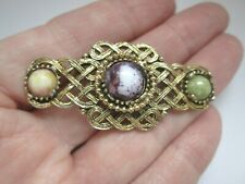 Vintage Celtic Knot Scottish Irish Welsh Gold Tone Bar Glass Brooch Kilt Pin