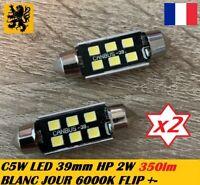 2x Navette C5W C10W LED 39mm Fusible 350Lm Blanc Jour 5500k-6000k 12V 2W PREMIUM