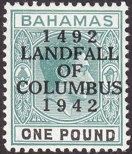 Bahamas 1942 KGVI Columbus £1 Grey-Green + Black UM Mint SG175a cat £30 MNH