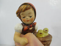 Hummel Goebel Figurine Chick Girl Kneeling Basket Chickens TMK5 Vintage #57/0