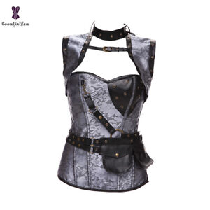 Steampunk Overbust Corset Gothic Lace up Boned Waist Bustier Top Gothic Basques
