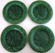 """4 Antique English Majolica Cabbage Leaf Geranium Plates - Green 8 3/8"""" Diameter"""