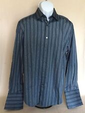 Pre-owned Joseph Abbound Dress Shirt M French Cuffs Blue Gray White Stripes