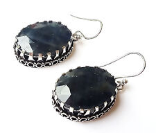 "Plated Vintage Style Earring=1.50""Handma 78Ct. Natural Blue Sapphire Silver"