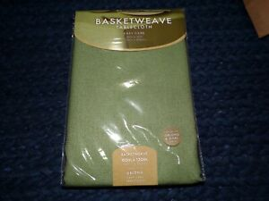 Basketweave 60-Inch x 120-Inch Oblong Tablecloth in Sage
