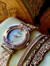 Anne Klein New York Ceramic 12/2316BHST Bracelet Watch Set Rose Gold NWT