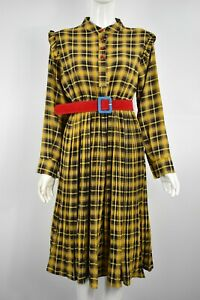 Women  Girls most stylish checked long selves,button and frill  dress yellow