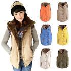 Womens Warm Slim Fleece Vest Hoodie Coat Sleeveless Jacket Hooded Vest Waistcoat