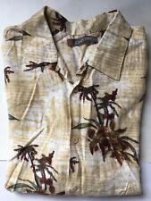 Hawaiian JOHN HENRY Men's Brown/Beige/Cream S/S PalmTreesTropicalFlowers Shirt M