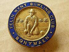 More details for vintage enamel badge old felin wynt bowling club bonymaen wales button hole