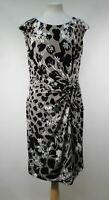 GINA BACCONI Ladies Taupe & Black Floral Print Gathered Waist Shift Dress UK16