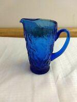 Morgantown vintage Seneca Driftwood glass Delphine dark blue 30 oz. pitcher