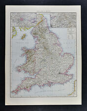 1887 Andrees Map - England Wales - London Liverpool Nottingham Bristol Thames UK