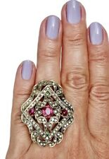 Rose-Cut Diamond Pink Tourmaline 14K Yellow Gold Silver HUGE Armor Ring