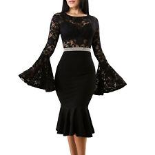Vestito donna mini abito pizzo maniche campana aderente elegante sexy DL-2275