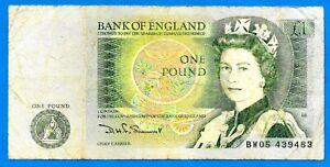 "England B341 £1 QEII DH SOMERSET ""D"" Series 20.3.1981 Prefix #BW05 VF SCARCE"