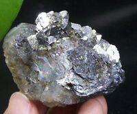 130g Rainbow Fluorite & Lollingite & Arsenopyrite Inner Mongolia China  B2426