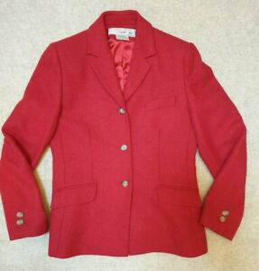 Vintage Laura Ashley Country Pure Wool Suit Red Skirt & Jacket Size 12
