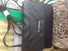 ENZO ANGIOLINI NEW BLACK LEATHER ORGANIZER CROSSBODY HANDBAG.